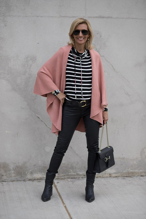 Womens Cape Vest in a rose color worn with a Black Burgandy and Ivory Cowl Neck stripe floral top