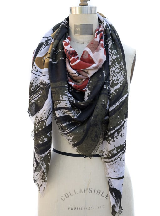 Olive Mustard Sienna Color Abstract Print Womens Scarf Shawl
