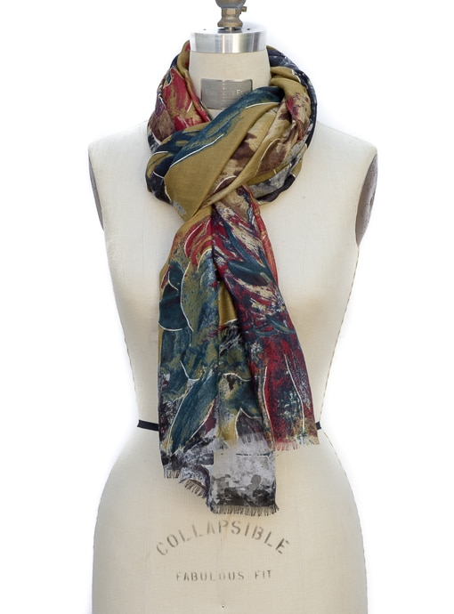 Womens Scarf Shawl in a olive navy and red abstract print