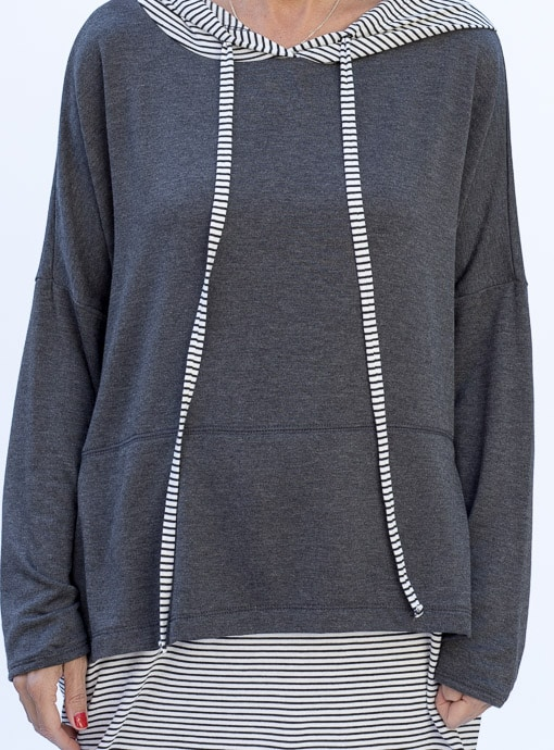Stripe Gray twofer casual hooded top