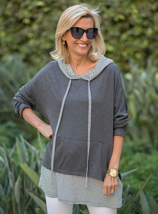 Stripe And Solid Twofer Hooded Top