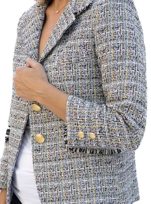 Womens Classic Style Boucle Jacket Blazer MAde From Italian Fabric
