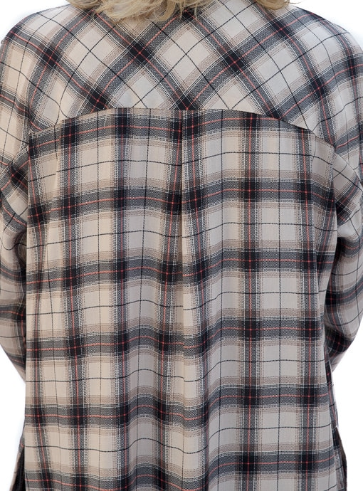 Long Plaid Shirt With Side Button Detail