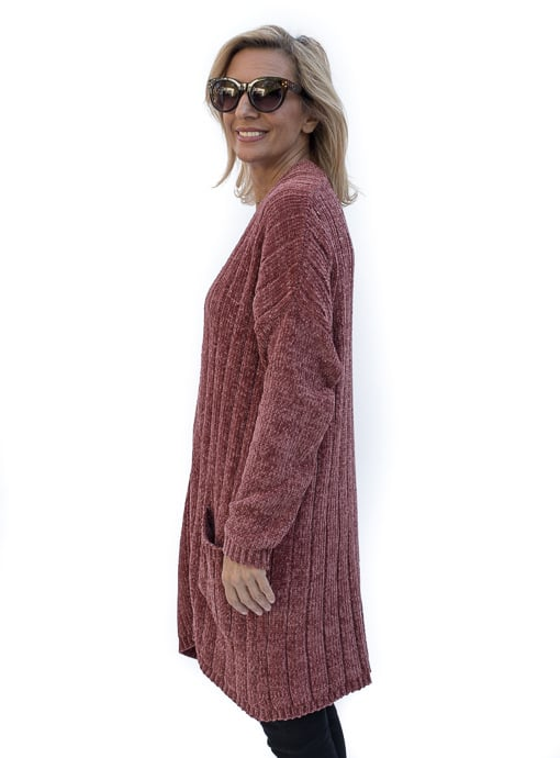 Womens Chenille long Cardigan with pockets