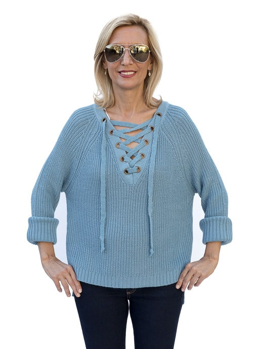 Womens Sweater Sky blue with lace up