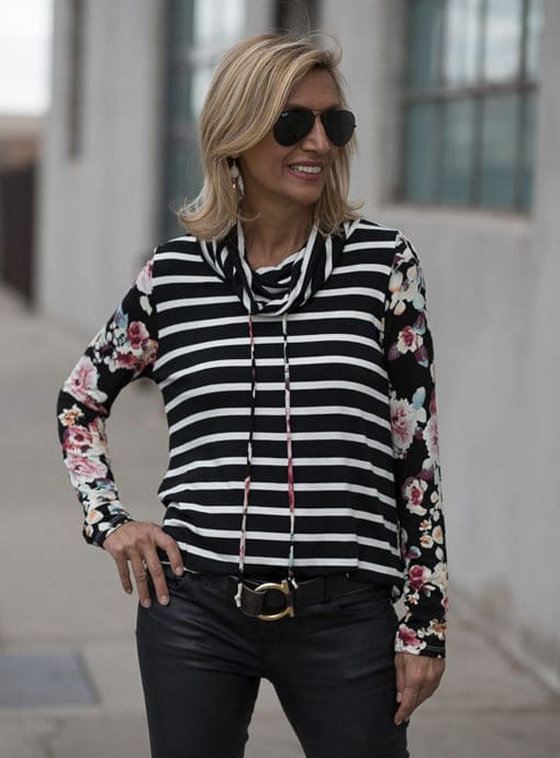 black ivory and burgundy cowl neck stripe and floral top