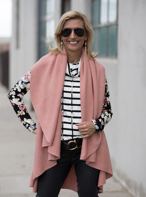 womens cape vest in a rose color