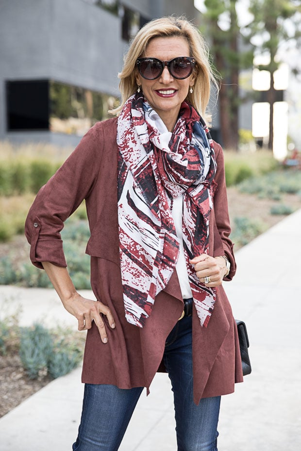 Womens Faux suede cascading color jacket in bordeaux with abstract print scarf