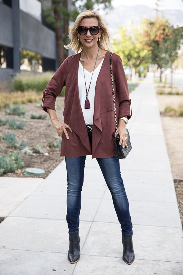 Womens Faux suede cascading color jacket in bordeaux