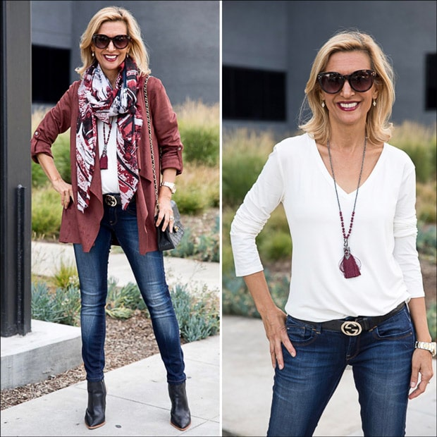 Womens Faux suede Cascading collar jacket in bordeaux style with a scarf and Ivory top