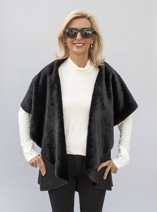 Womens Black Faux Suede And Faux Shearling Cape Vest
