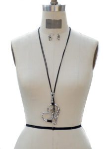 Silver Heart Necklace and Earring Set with Black Leather String