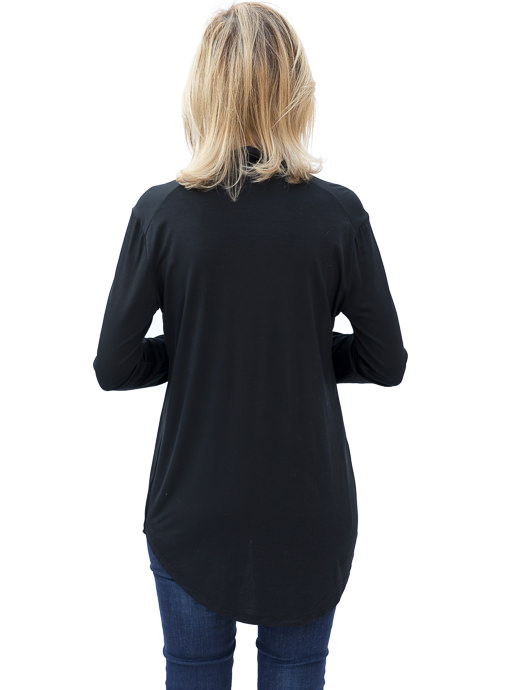 black modal jersey mock neck top for women