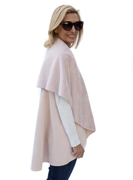 Faux Suede Cape Vest For Women In Blush