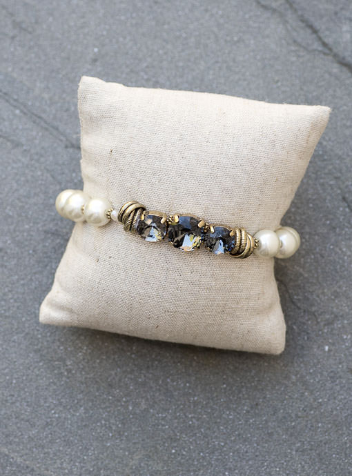 Pearl And Gunmetal Crystal Bead Bracelet
