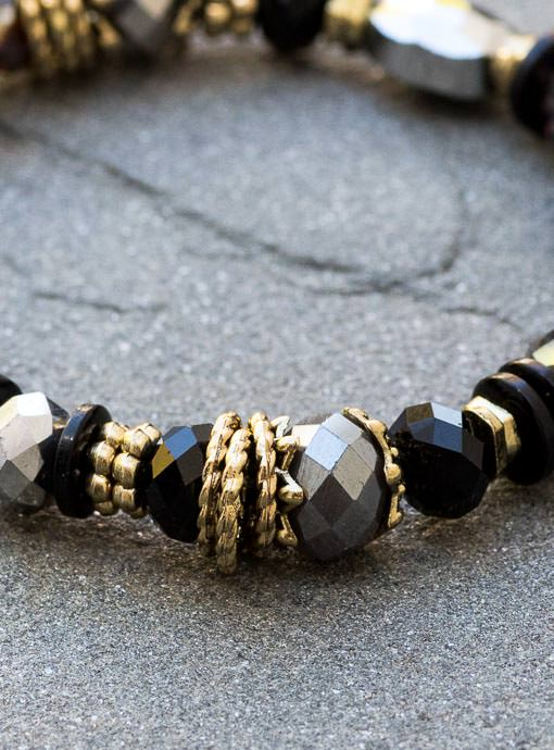 Womens Gunmetal Gray Black And Gold Bead Bracelet