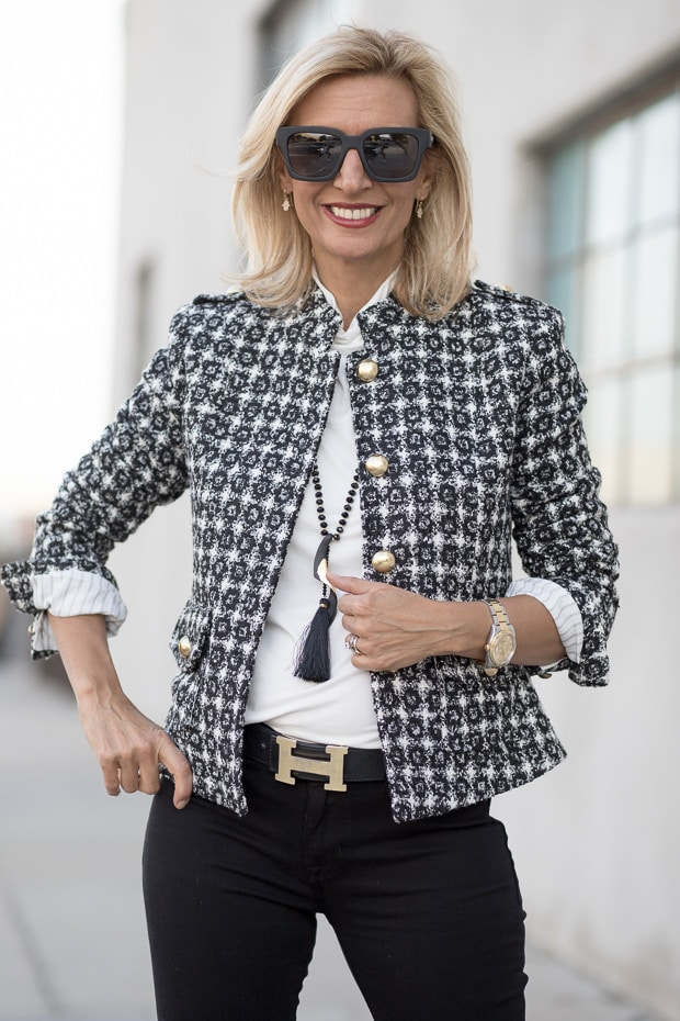 Classic Paris Style Boucle Jacket Blazer For Women