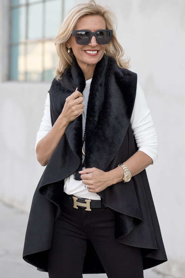 Black Faux Suede Vest And Ivory Mock Turtle Neck