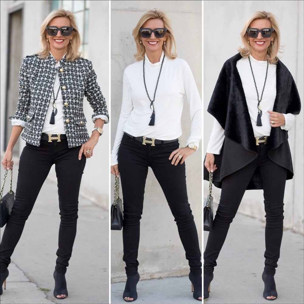 Fall And Holiday Fashion Looks In Black And Ivory Textures