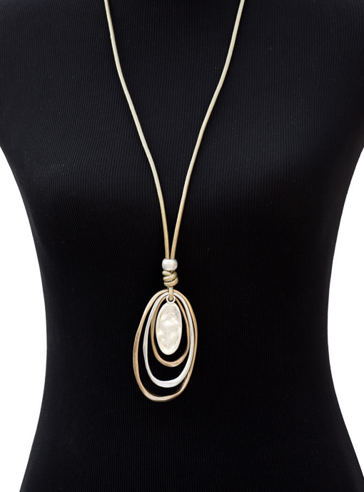Long Gold Leather String Necklace Gold And Silver Oval Shapes