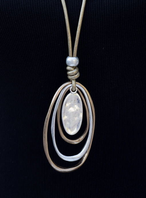 Gold long Leather String Necklace Gold And Silver Oval Shapes