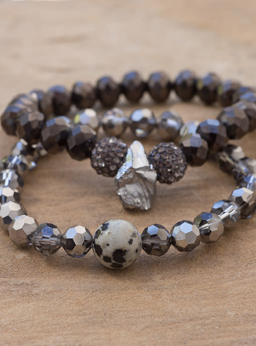 gray and black iridescent bead bracelet set