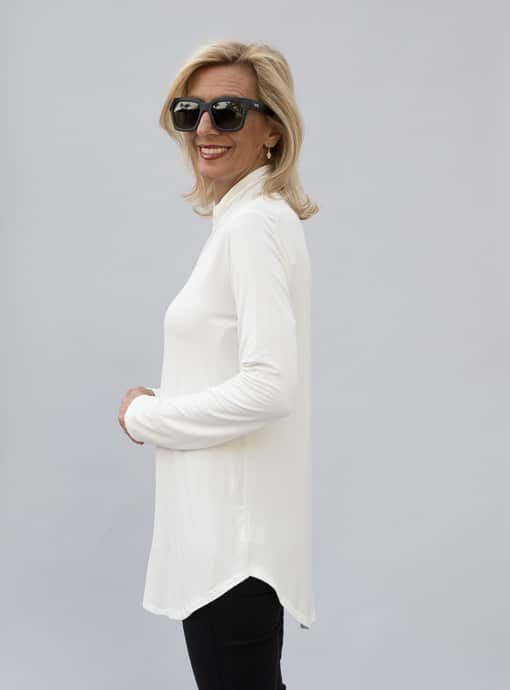 Ivory Mock Turtle Neck Long Sleeve Top