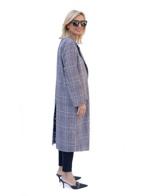 Womens Long Gray Glen Plaid Coat