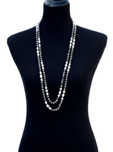 Pearl And Gray Iridescent Bead Necklace Set