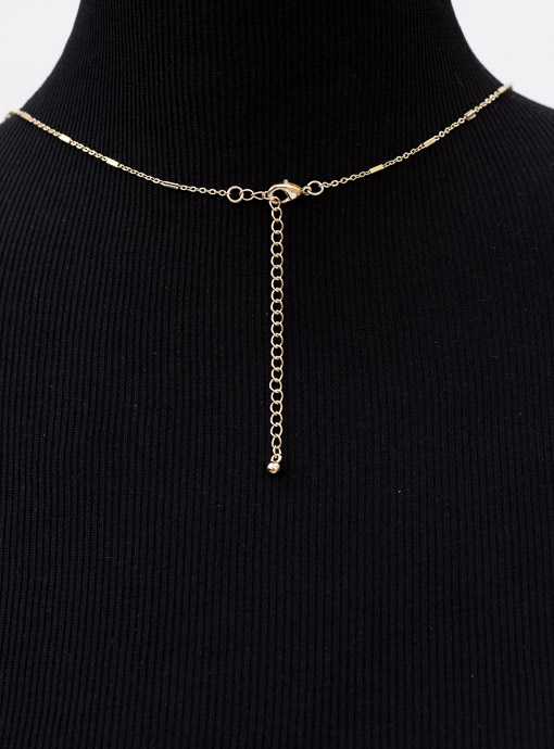 Gold Tone Chain Necklace With Gold And Gunmetal Pendant