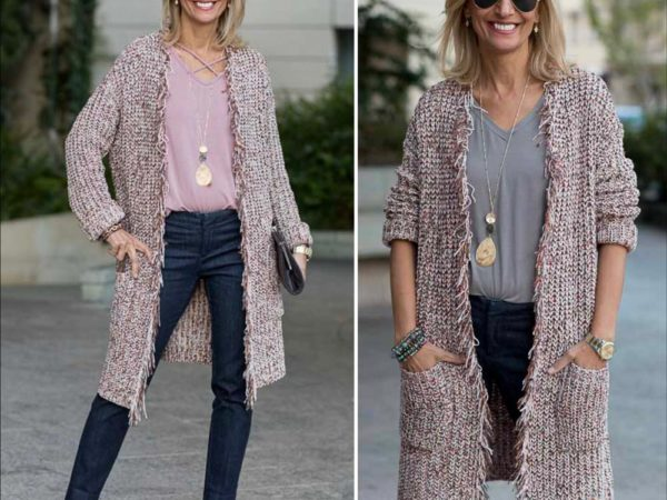 Novelty-Chenille-Long-Cardigan-With-Multi-Colored-Yarn-Styled-With-Two-Tops-featured