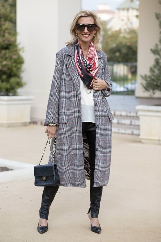 Womens Long Plaid Coat styled With Leather And Pearls