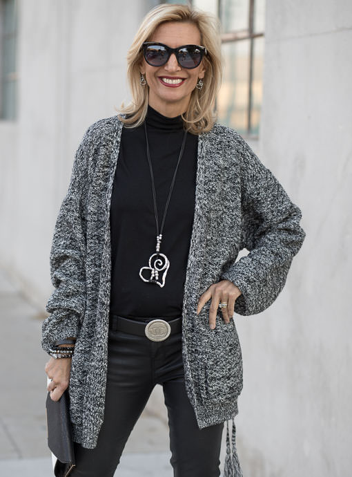 womens oversized knit cardigan in black and white marled yarn