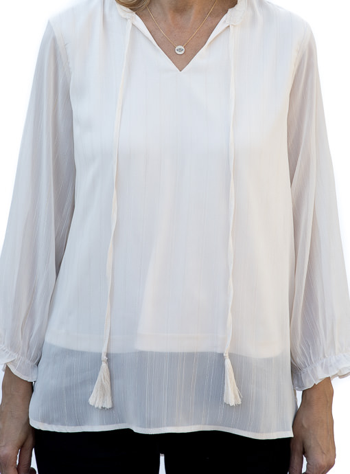 Womens Pearl White Peasant Blouse with Metallic Stripes
