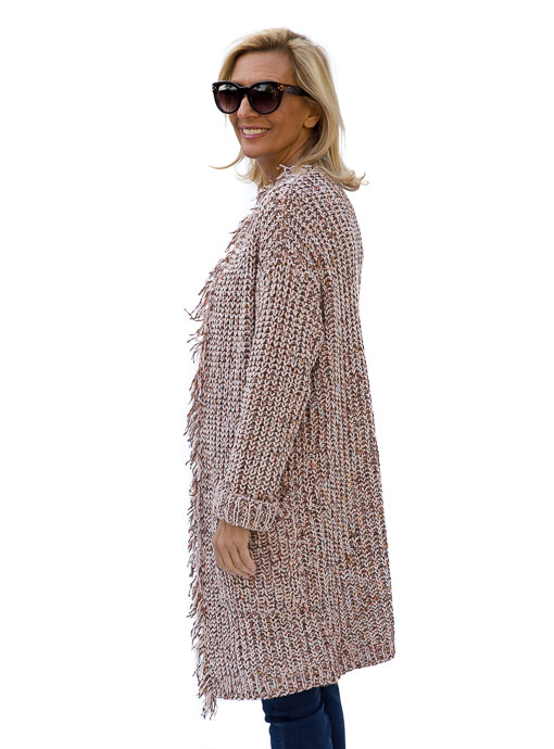 Long Chenille Cardigan For Women in a Novelty Knit