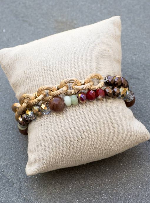 Women's Iridescent Bead And Gold Chain Bracelets