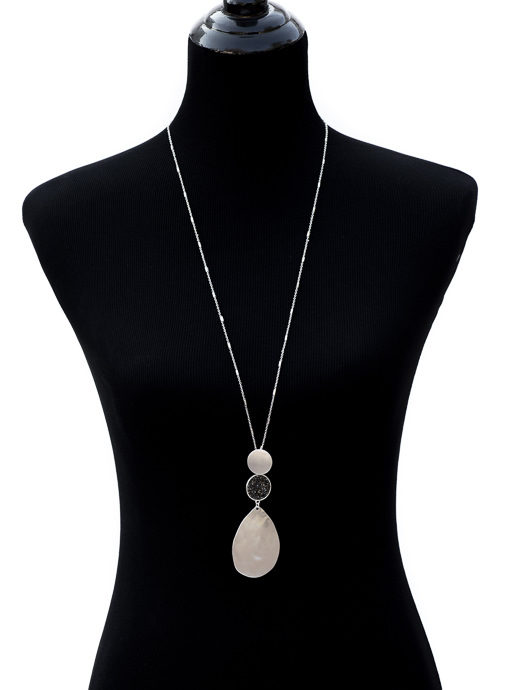 Long Silver Tone Chain Necklace With Silver And Gunmetal Pendant