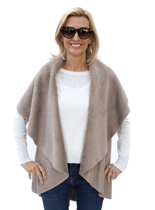 Taupe Cape Vest In Faux Suede