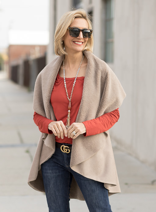 Taupe Faux Suede And Faux Shearling Cape Vest