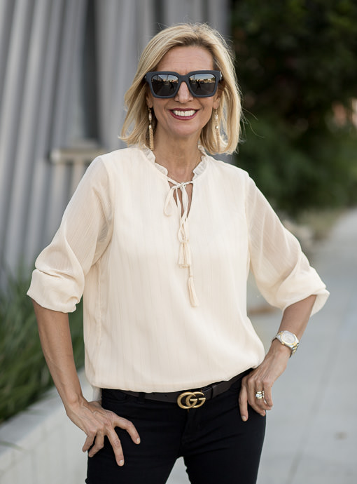 Pearl Peasant Blouse With Metallic Stripes