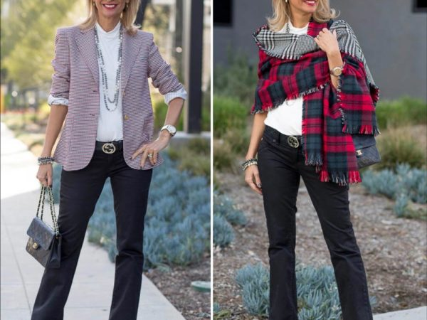 Black Red and Ivory Houndstooth Blazer combo for a holiday look