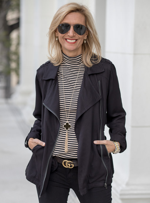 Black Unstructured Moto Jacket With Belt
