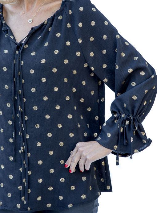 Black And Gold Polkadot Peasant top for women