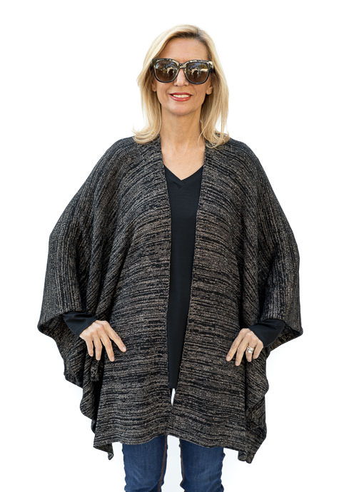 Black And Gold Lurex Knit Poncho Cardigan