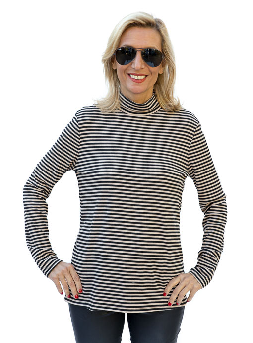 Black and Taupe Ribbed Mock Neck Top for women
