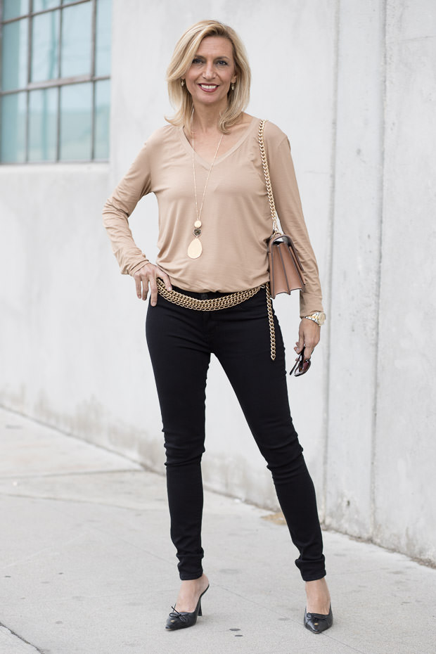 womens camel v neck long sleeve top