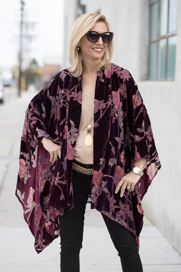 Plum Velvet Floral Burnout Kimono Top for women
