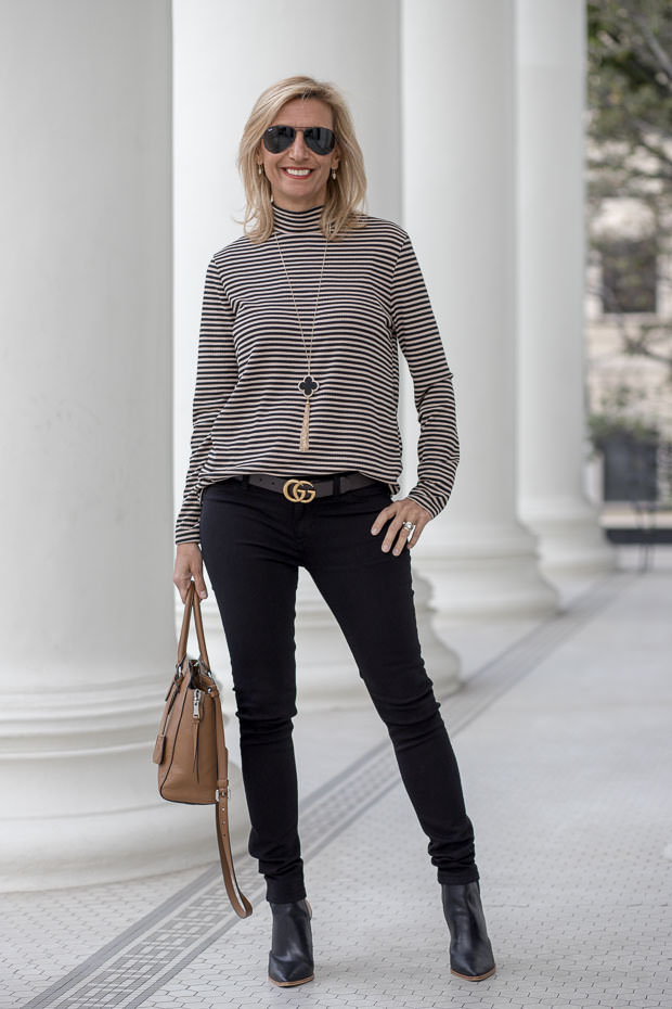 womens mock neck top in taupe and black a chic look