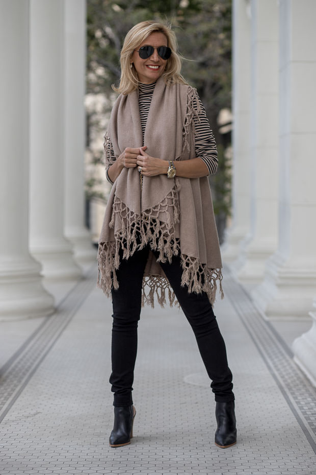 womens mock neck top in taupe and black with a taupe cape vest