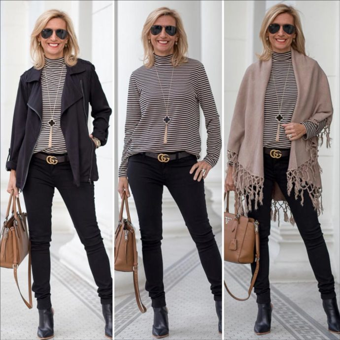 Casual Black Moto Jacket with mock neck top in taupe and black a chic look